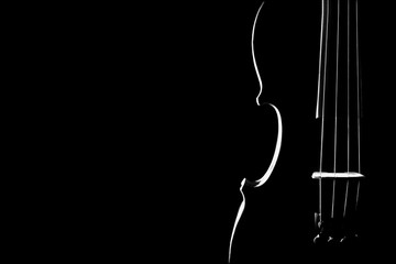 Foto op Canvas Muziek Violin closeup silhouette isolated