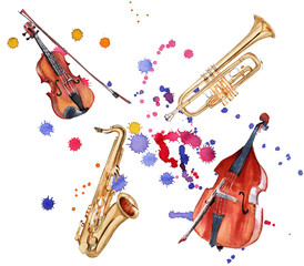 Musical instruments. Saxophone, double bass, violin and trumpet. Isolated on white background.