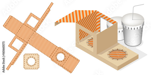 Gift Box Packaging Template. Fast Food Tray Box with Die Cut ...
