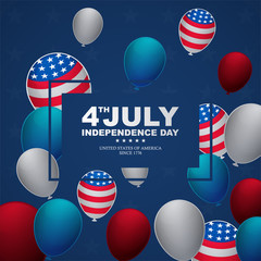 happy independence day with balloon