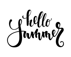 Hello Summer. Hand drawn calligraphy and brush pen lettering.