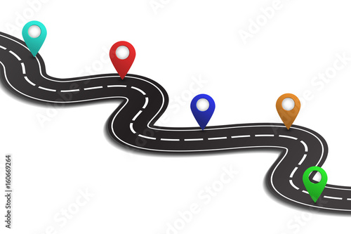 """""""Vector isometric winding road with map pins on the white ..."""