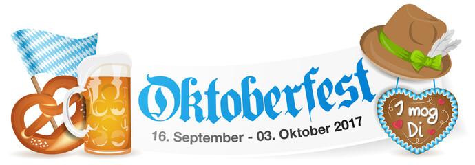 Oktoberfest 2017 Banner mit Bierglas, Brezel und Lebkuchenherz