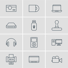 Vector Illustration Of 12 Hardware Icons. Editable Pack Of Monitor, Computer, Camcorder And Other Elements.