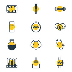 Vector Illustration Of 12 Health Icons. Editable Pack Of Painkiller, Vial, Heartbeat And Other Elements.