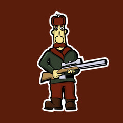 Sticker of the mustachioed hunter with a gun