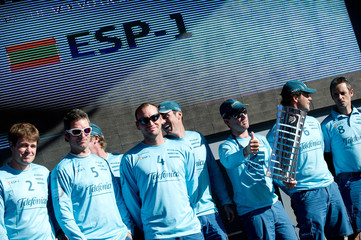 Team Telefonica, skippered by Iker Martinez from Spain win the Leg 1, 1st Place Award at the Volvo Ocean Race 2011-12 Cape Town prize giving. Thursday, Dec 08, 2011. (Paul Todd/Volvo Ocean Race photo via Action Images) EDITORIAL USE ONLY