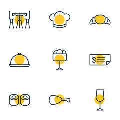 Vector Illustration Of 9 Cafe Icons. Editable Pack Of Dessert, Leg, Hat And Other Elements.