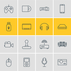 Vector Illustration Of 16 Device Icons. Editable Pack Of Sound Recording, Camcorder, Game Controller And Other Elements.