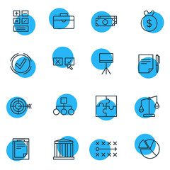 Vector Illustration Of 16 Trade Icons. Editable Pack Of Goal, Chart, Solution And Other Elements.