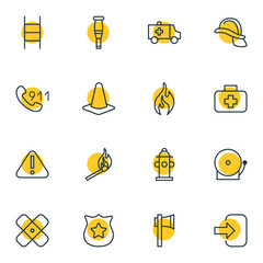 Vector Illustration Of 16 Extra Icons. Editable Pack Of Medical Case, Spike, First-Aid And Other Elements.
