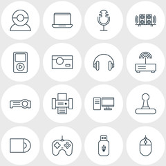 Vector Illustration Of 16 Hardware Icons. Editable Pack Of PC, Photocopier, Sound Recording And Other Elements.