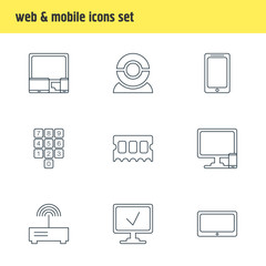 Vector Illustration Of 9 Computer Icons. Editable Pack Of Number Keypad, Gadgets, Memory Chip And Other Elements.