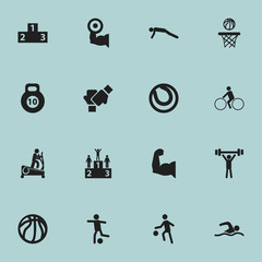 Set Of 16 Editable Fitness Icons. Includes Symbols Such As Basket Play, Sportsman, Bicycle Rider And More. Can Be Used For Web, Mobile, UI And Infographic Design.