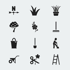 Set Of 12 Editable Gardening Icons. Includes Symbols Such As Daffodils, Vera, Handcart. Can Be Used For Web, Mobile, UI And Infographic Design.