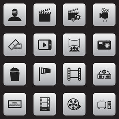Set Of 16 Editable Filming Icons. Includes Symbols Such As Cinema Snack, Show, Spectator And More. Can Be Used For Web, Mobile, UI And Infographic Design.