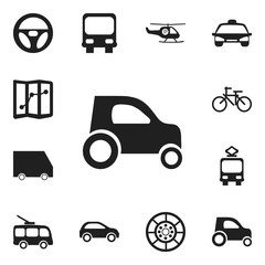 Set Of 12 Editable Shipment Icons. Includes Symbols Such As Cycle, Drive Control, Helicopter And More. Can Be Used For Web, Mobile, UI And Infographic Design.
