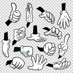Cartoon hands with gloves icon set isolated on transparent background. Vector clipart - parts of body, arms in white gloves. Hand gesture collection. Design templates in EPS8.