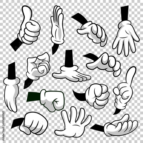 cartoon hands with gloves icon set isolated on transparent