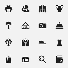 Set Of 16 Editable Business Icons. Includes Symbols Such As Bonnet, Gingham, Amphora And More. Can Be Used For Web, Mobile, UI And Infographic Design.