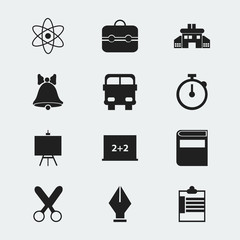 Set Of 12 Editable Education Icons. Includes Symbols Such As Cutting, Kindergarten, Trunk And More. Can Be Used For Web, Mobile, UI And Infographic Design.