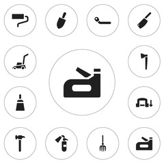 Set Of 12 Editable Tools Icons. Includes Symbols Such As Circle Spanner, Hay Fork, Cleaver And More. Can Be Used For Web, Mobile, UI And Infographic Design.