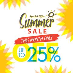 Summer Sale set V.4 25 percent colorful heading design for banner or poster. Sale and Discounts Concept. Vector illustration.