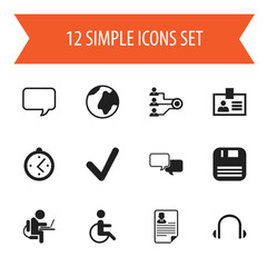 Set Of 12 Editable Bureau Icons. Includes Symbols Such As Earphone, Conversation, Document And More. Can Be Used For Web, Mobile, UI And Infographic Design.