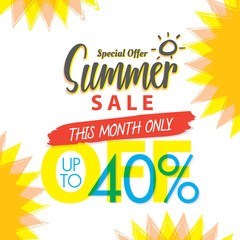 Summer Sale set V.4 40 percent colorful heading design for banner or poster. Sale and Discounts Concept. Vector illustration.
