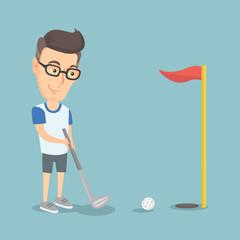 Golfer hitting a ball vector illustration.