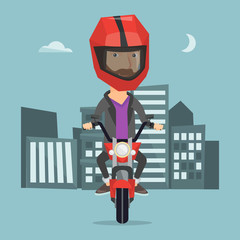 Man riding motorcycle at night vector illustration