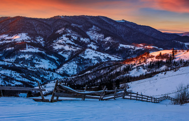 epic red sunrise in Carpathian countryside