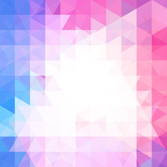 Geometric pattern, triangles vector background in pink, blue, white ' tones. Illustration pattern