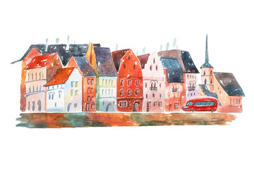 Watercolor painting of peaceful street in Holland with houses  typical European architecture