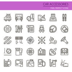 Car Accessories Elements , Thin Line and Pixel Perfect Icons