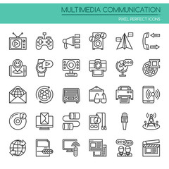 Multimedia and Communication , Thin Line and Pixel Perfect Icons