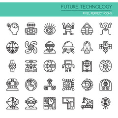 Future Technology , Thin Line and Pixel Perfect Icons