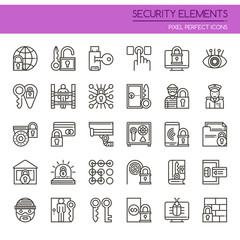 Security Elements , Thin Line and Pixel Perfect Icons.