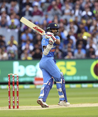 India's Shikhar Dhawan batting against Australia during their T20 cricket match at the Melbourne Cricket Ground