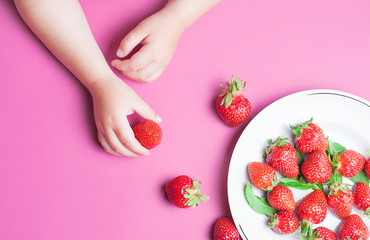 Child's hand holding strawberry on pink background, plate of strawberries. healthy eating concept. Top view, flat lay