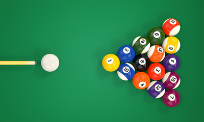 Billiard cue and pool balls
