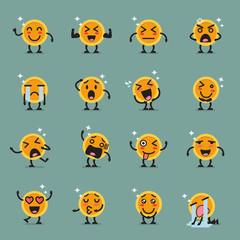 Coin character emoji set