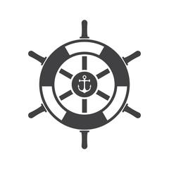 Ship wheel vector icon. Marine rudder illustration isolated on white background. Nautical navigation logo or label template.