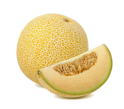 Yellow galia melon piece isolated on white background