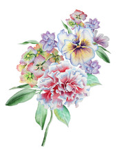 Watercolor bouquet with flowers. Pansies.  Carnation.  Hydrangea. llustration. Hand drawn.