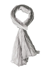 Grey silk scarf isolated on white background.