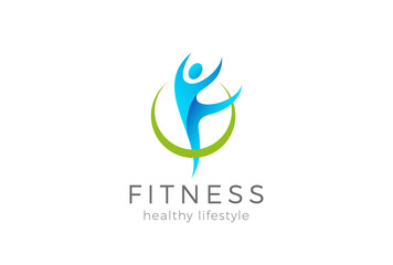Fitness sport gym Logo vector Woman girl gymnastics exercise