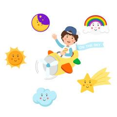 Boy riding plane on the sky and symbol set,isolated illustration