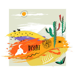 Vector hand-drawn illustration. Square abstract trendy composition of smears on theme of desert . Concept for poster, print, advertising, touristic brochure, t-shirt.