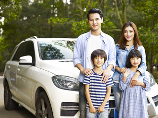 asian family on the road